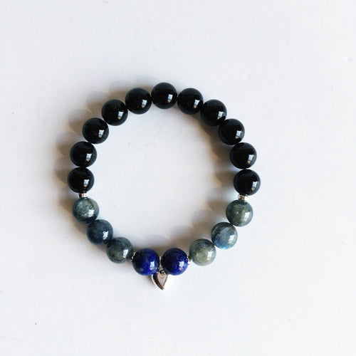 Clarity & Grounding Energies Bracelet ~ 8mm Blue Kyanite, Lapis Lazuli & Black Onyx - Hippie Love Bracelets