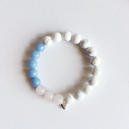 Love Bliss Bracelet ~ Angelite, Rose Quartz & White Howlite - Hippie Love Bracelets