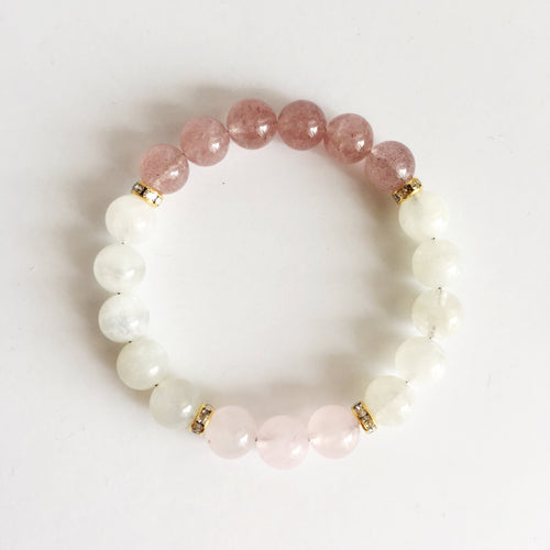 Fertility ~ Genuine Moonstone, Muscovite & Rose Quartz - Hippie Love Bracelets