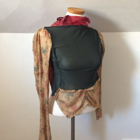 Reversible Sheer Collage Top with Hand Dyed Silk panel