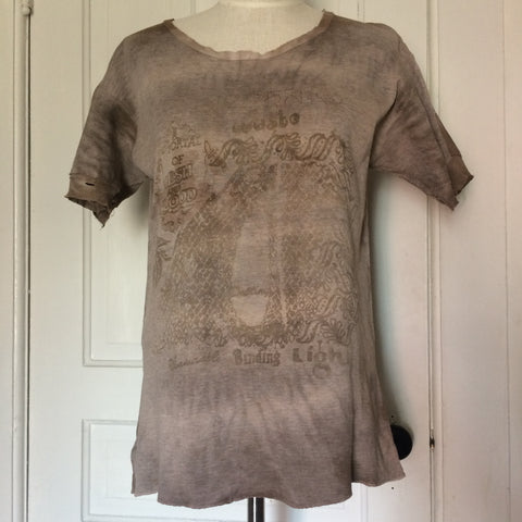 Naturally dyed Vintage thermal Tshirt with Portal Print
