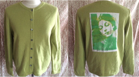 Light Green Cardigan Size Large with Cosey Fanni Tutti MY LIFE IS MY ART MY ART IS MY LIFE Back Patch