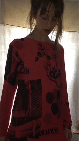 Red Why am I a Masochist? Long Sleeve Printed shirt One of a Kind