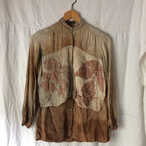 As-is Vintage silk top with Printed Patches