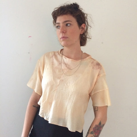 Hand sewn silk blouse dyed with Madder root