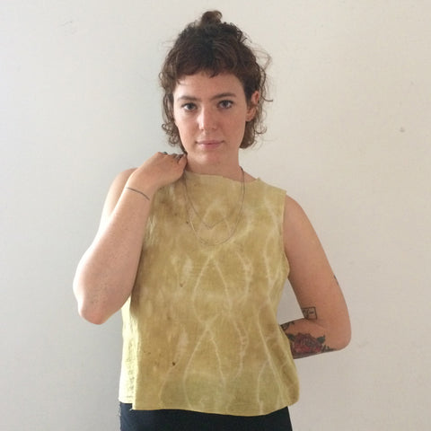 Naturally dyed shadow shibori Cotton tank top