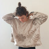 Hand Painted Linen Bomber Coat with Paneled Sleeves