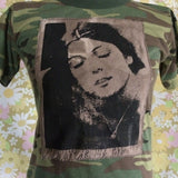 Vintage Camo T-shirt with Naturally dyed Cosey Fanni Tutti Patch Size Sm/Med