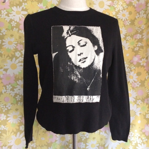 Vintage Long Sleeve top with Cosey Fanni Tutti Patch Size Med