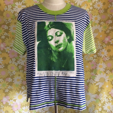 Vintage Striped shirt with trip Green Cosey Fanni Tutti Patch size XL/Large