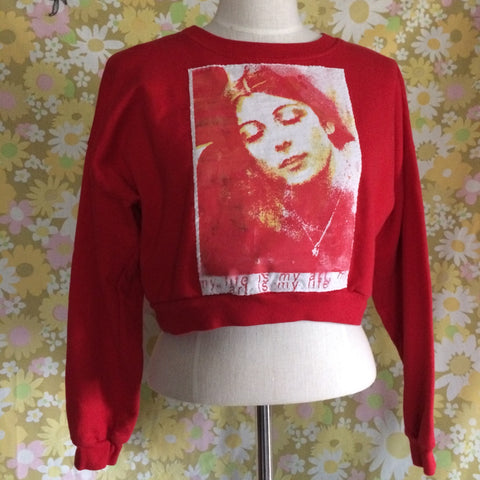 Cropped red american apparel flex fleece Sweatshirt with Cosey Fanni Tutti Patch size Med