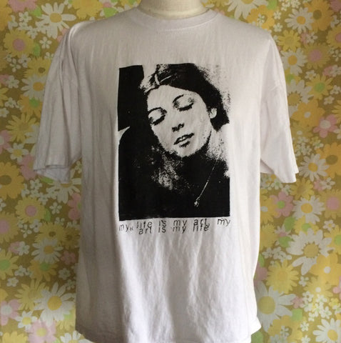 Vintage White t-shirt with Cosey Fanni Tutti My art is my life my life is my art print Size XL