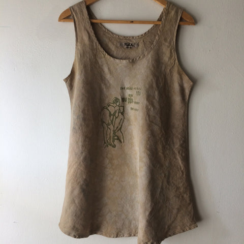 The Boss Needs You Handprinted Dyed Linen Tank Top