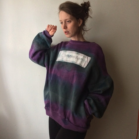 Xtra Large Vintage Tye Dye Sweater with Pockets and Hand Dyed Napster Patch