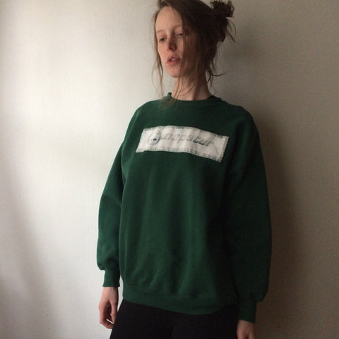 Large Vintage Green Sweater with Hand Dyed Napster Patch
