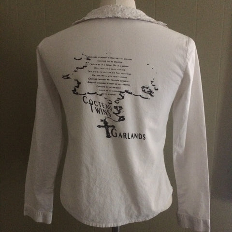 Cocteau Twins vintage Button Up Broadcloth Blouse with Lace Collar XS