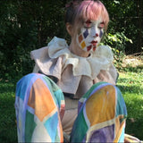 Handmade Harlequin Costume with matching Frill Collar Antique style