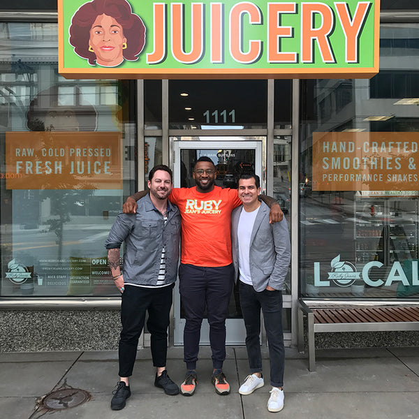 Ruby Jean's Juicery Owner, Chris Goode with ULAH Co-owners, Buck and Joey