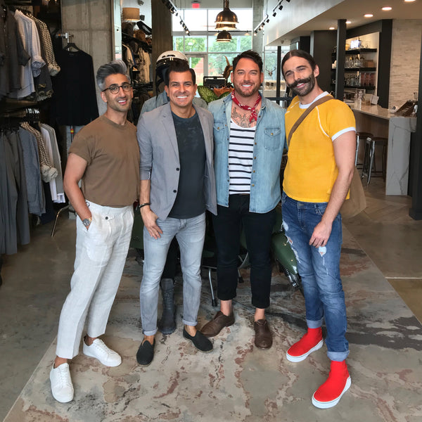 Netflix's Queer Eye Stars — Tan France and Jonathan Van Ness — with ULAH co-owners Joey Mendez and Buck Wimberly