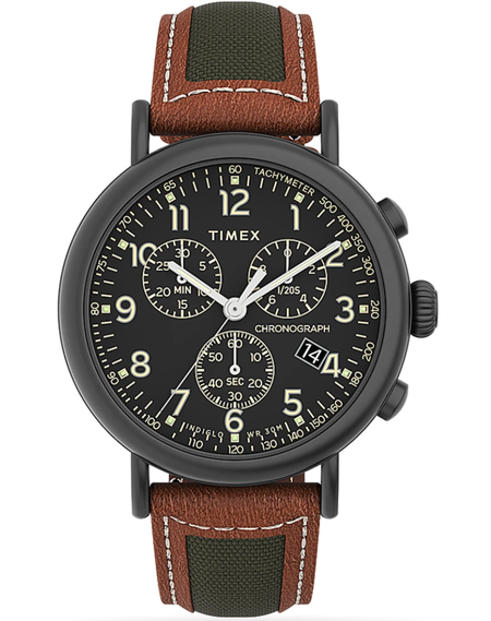 Timex - Standard Chronograph 41mm Leather Strap Watch - Brown