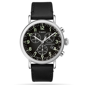 Timex - Standard Chronograph 41mm Leather Strap Watch - Black