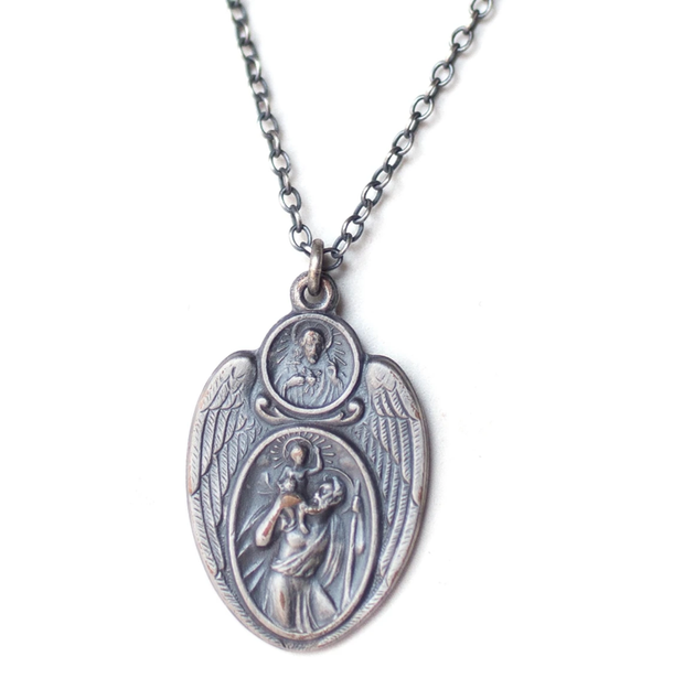 Cartography Necklace - St. Christopher, Patron Saint of Travel in Sterling Silver