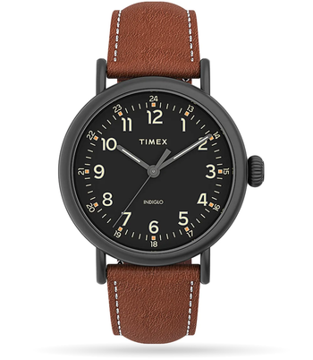 Timex - Standard 40mm Leather Strap Watch - Brown