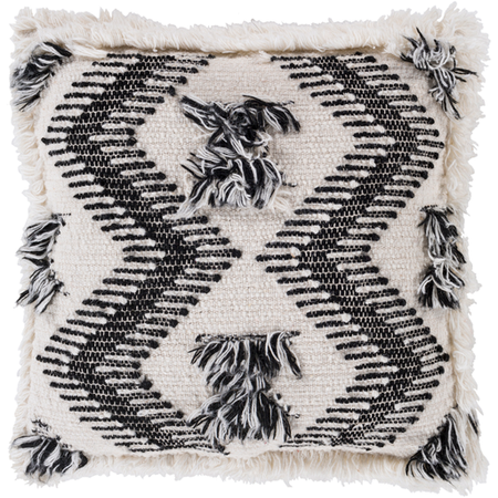 Cream and Black Macramé Pillow with Down 20x20