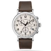 Timex Watch - Standard Chronograph 41mm Leather Strap - Silver-Tone/Brown/Cream