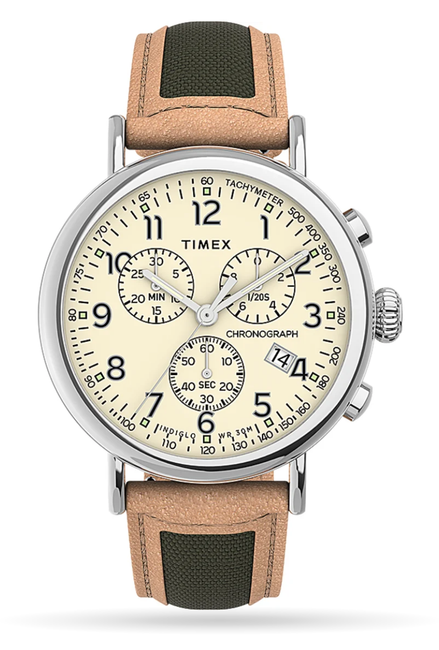 Timex - Standard Chronograph 41mm Leather Strap Watch - Tan