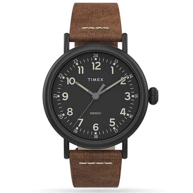 Timex - Standard 40mm Leather Strap Watch - Brown/Black
