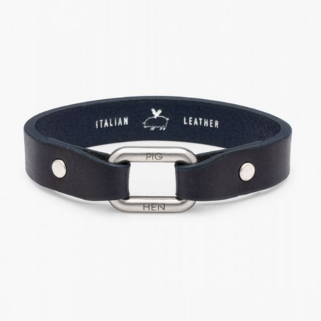 Pig & Hen - Limp Lee Leather Bracelet - Navy / Silver