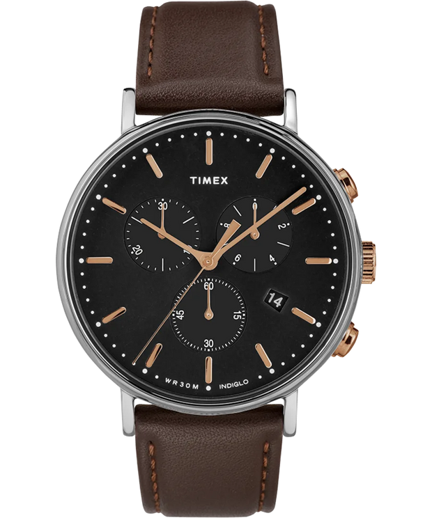Timex Watch - Fairfield Chronograph 41mm Leather Strap - Silver-Tone/Brown/Black/Rose-Gold-Tone