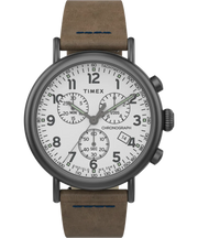 Timex Watch - Standard Chronograph 41mm Leather Strap - Gunmetal/Brown/White
