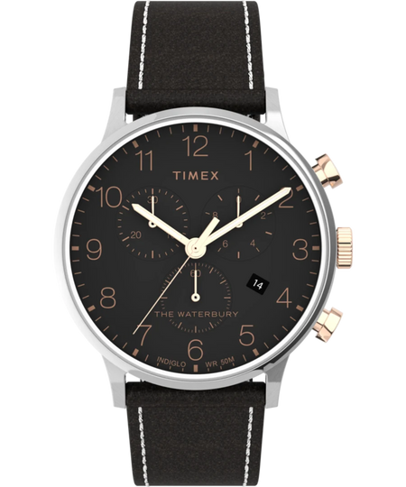 Timex Watch - Waterbury Classic Chronograph 40mm Leather Strap - Stainless-Steel/Brown