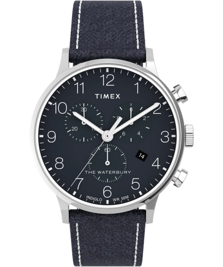 Timex Watch - Waterbury Classic Chronograph 40mm Leather Strap - Stainless-Steel/Blue