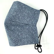 Face Mask w/ Adjustable Strap - Steel Blue w/ Pattern