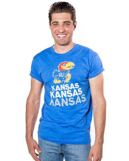 Charlie Hustle KU Kansas Stacked Tee Blue