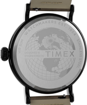 Timex Watch - Standard 40mm Leather Strap - Gunmetal/Brown