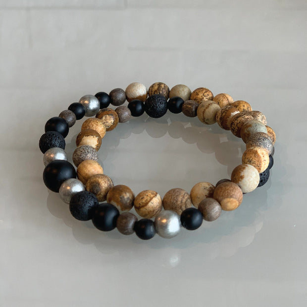 Sunkissed Earth Dbl Wrap Bracelet - Picture Jasper/Onyx/Lava