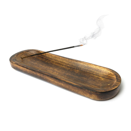 "Wood Boat Incense Stick Burner 12""x4"""