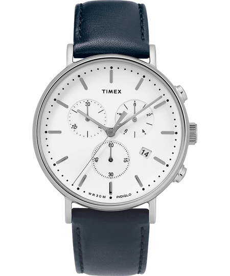 Timex Watch - Fairfield Chronograph 41mm Leather Strap - Silver-Tone/Blue/White