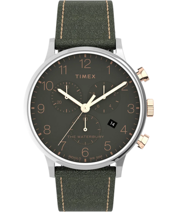 Timex Watch - Waterbury Classic Chronograph 40mm Leather Strap - Stainless-Steel/Green