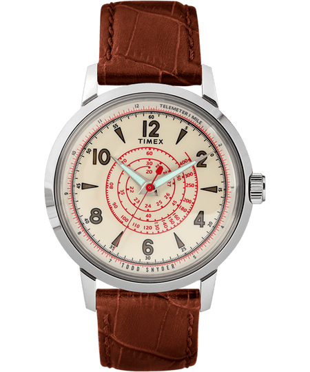 Timex x Todd Snyder Watch - Beekman 40mm Leather Strap - Stainless-Steel/Brown/Cream