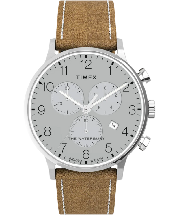 Timex Watch - Waterbury Classic Chronograph 40mm Leather Strap - Stainless-Steel/Tan