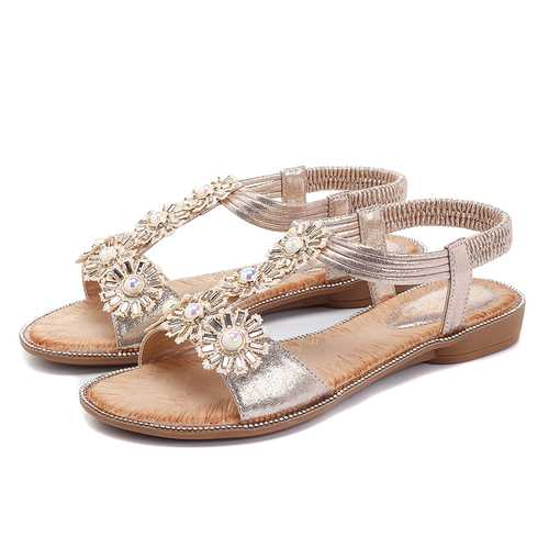 Flowers T Strap Casual Comfortable Sandals