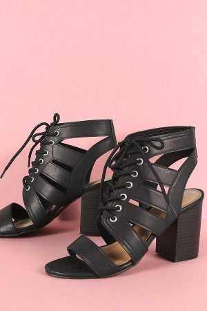 Bamboo Strappy Open Toe Lace-Up Chunky Heel
