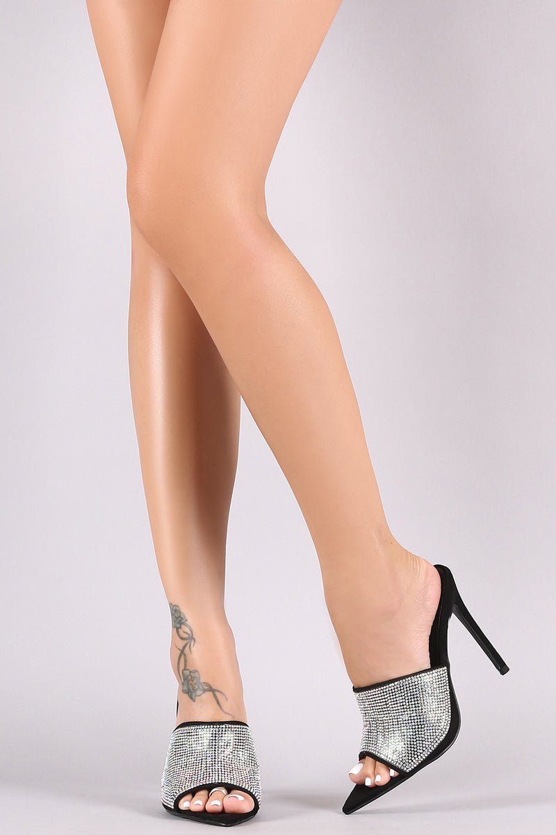 Rhinestone Embellished Pointed Open Toe Mule Heel