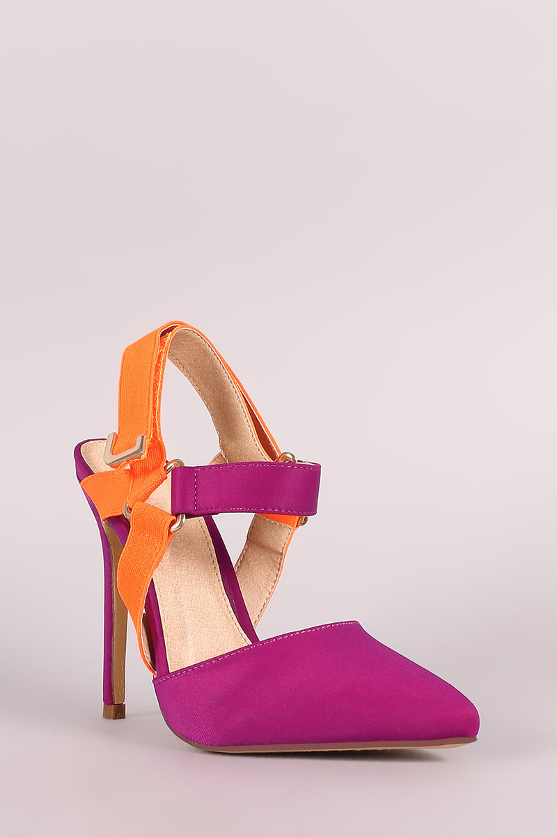 Lovely ankle strap pointy toe heels