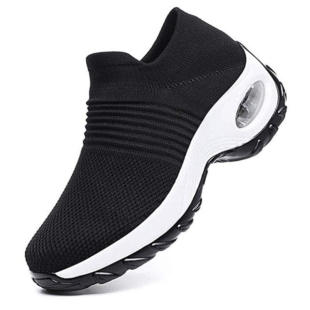 Adisputent New 2019 Summer Women Sneakers Fashion Breathable Mesh Casual Shoes Platform Sneakers For Women Black Sock Sneakers